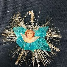 Antique Christmas Ornament Metal Tinsel Paper Angel w Blue Cellophane 3 3/4""