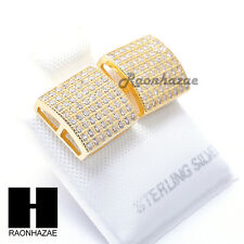 Iced Out Sterling Silver .925 Lab Diamond 10mm Square Screw Back Earring SE032G