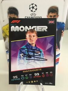 Topps F1 Formula 1 Turbo Attax Billy Monger Rookie On Card Auto