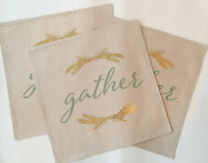 """Placemats Fall Thanksgiving Set of 3 Holiday at Home 15x15 """"Gather Foil"""" NWT"""