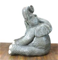 """Life Size Baby Elephant Sitting Statue in Cute Pose 40"""" Tall - The Kings Bay"""