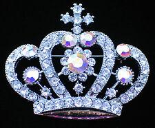 "SILVER RHINESTONE WEDDING PRINCESS TIARA  BEAUTY PAGEANT CROWN PIN BROOCH 2.5"""