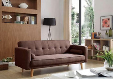 Vintage Sofa Bed Living Room Furniture 3 Seater Couch Retro Fabric Wooden Seat