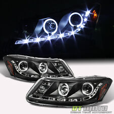 Black 2008-2012 Honda Accord Sedan LED Halo Projector Headlights w/Running Lamps