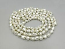 "Glossy White Pearlised Shell Nugget Pearls x 32 - 15.5"" Strand - Make A Necklace"