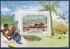 TOGO amitié Germano Togolaise  bloc 90f   Sansané Mango  culture     1984 **