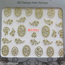 3D Nail Art Lace Roses GOLD Flowers Stickers Decals Transfers  - NEW (56)