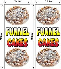 """PAIR OF 12"""" X 30""""  VINYL BANNERS FUNNEL CAKES NEW VERTICAL PLAIN COLORFUL TEXT"""