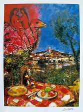 """MARC CHAGALL """"LOVERS OVER CITY"""" Limited Edition Facsimile Signed Lithograph"""