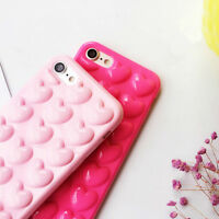 Cute Heart Bubble Soft TPU Gel Rubber Phone Case Cover For iPhone 6s 7 7 Plus