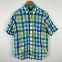 Gazman Mens Linen Button Up Shirt Medium Multicoloured Short Sleeve Collared