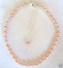 "Pink Cultured Freshwater Pearl & Sterling Silver 10""-12"" Ankle Bracelet"