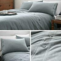 Blue Duvet Covers Denim Chambray Button Detail Luxury Quilt Cover Bedding Sets