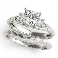 LADIES 14k WHITE GOLD SEMI-MOUNT THREE STONE PRINCESS DIAMOND ENGAGEMENT RING
