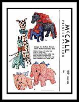 McCall #419 Horse Giraffe Elephant Sewing Pattern Stuffed Animal Mother Daughter