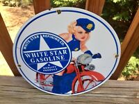 """Vintage Whitestar Gasoline Heavy Porcelain Sign 12"""" Gas & Oil Sign"""