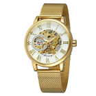 Mens Luxury Gold Black Stainless Steel Skeleton Automatic Mechanical Wrist Watch
