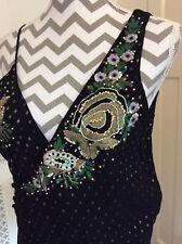 Zara Woman Black Chiffon Asymmetric Embroidered Sequin Bodysuit, Size M UK 10