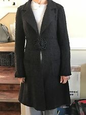 NANETTE LEPORE Black Nubby Lightweight Coat with Frog Button- Medium
