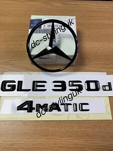 Gloss Black Rear Boot Star Badge & Emblems for Mercedes GLE350d C 292 Coupe Only