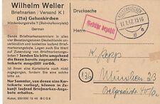 Gelsenkirchen, aziende cartolina del FRANCOBOLLI commerciante Wilhelm Weller, 1947