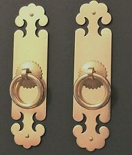 New Pair Shiny Brass Face Plates Cabinet Door Drawer Pulls Furniture Hardware