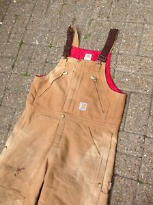 VINTAGE CARHARTT DUNGAREES - 40 x 30 - DOUBLE KNEE DISTRESSED MADE IN USA TAN