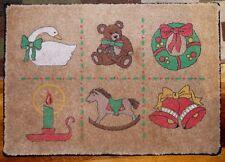 Vtg 1980s Indoor Christmas Accent Floor Mat Bear Horse Candle Goose Wreath Bells