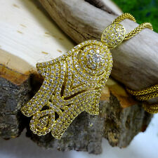 Dazzling Gold CZ Hamsa Pendant Necklace