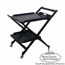 Italian Mid Century Modern Black Ebonized X Form Server Bar Cart