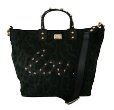 DOLCE & GABBANA Bag Cotton Green Leopard Studded Love Beatrice Tote