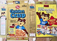1992 Golden Crisp Fun Mania Book Cereal Box rrr125