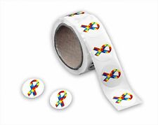 Autism Awareness Ribbon Small Round 3-4 .75 Inch Stickers (250 Ct)