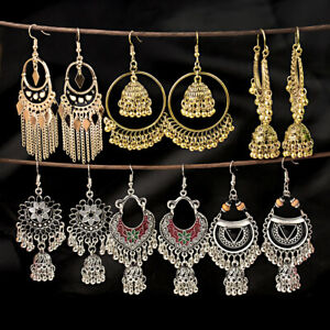 Gold Silver Plated Bollywood Bohemian jhumka Handmade Dangle Women's Earrings