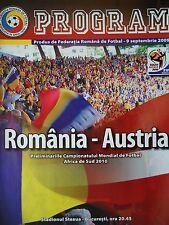 Programm LS 9.9.2009 Romania Rumänien - Austria Österreich