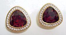 SWAROVSKI Big RED Crystal on Goldtone Earrings