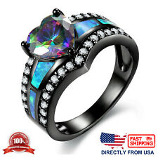 Women's Fire Opal Inlay and Rainbow Heart Cubic Zircona Cocktail Engagement Ring