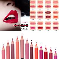6/12pcs/Set Waterproof Lipstick Lip Liner Make Up Long Lasting Matte Pencil Pen
