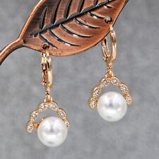 """18K Gold Filled 0.9"""" Earrings Branch Zircon Linked Pearl Women Fashion Jewelry"""