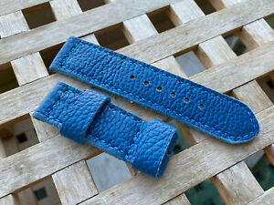 26 mm handmade , vintage leather watch strap.Blue nappa leather .