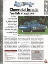 FICHE DESCRIPTIVE - TECHNIQUE - LA CHEVROLET IMPALA DE 1961