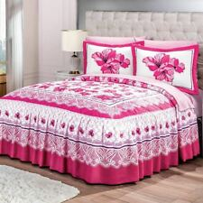 Pink flowers BEDSPREAD  throw pillows set KING SIZE Perfect gift and decoration