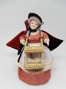 Vintage Old Peddler Woman W Wicker Basket Artisan Dollhouse Miniature 1:12