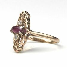 Antique Victorian/Edwardian 14K Gold Filigree Navette Ruby & Diamond Ring, 5.5/6