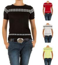 Markenlose taillenlange Kurzarm Damen-Pullover & -Strickware