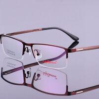 Mens Half Rimless Glasses Frame Reading Myopia Eyeglasses Spectacles Eyewear
