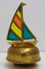 Vintage Brass Rotating Sailing Yacht w/Stained Glass Sail Music Box
