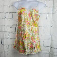 Victoria's sSecret Slip Nightgown Teddie Large rhinestones lace floral satin Y8