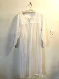 Celestine Lingerie Germany Large Nightgown 100% Cotton Gauzy Embroidered
