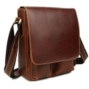 Luxury Leather Men Business IPAD Shoulder Messenger Sling Bag Cross Body Satchel